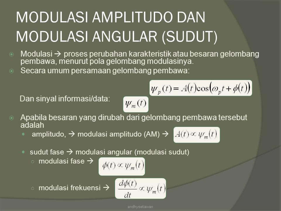 MODULASI AMPLITUDO DAN MODULASI ANGULAR (SUDUT)