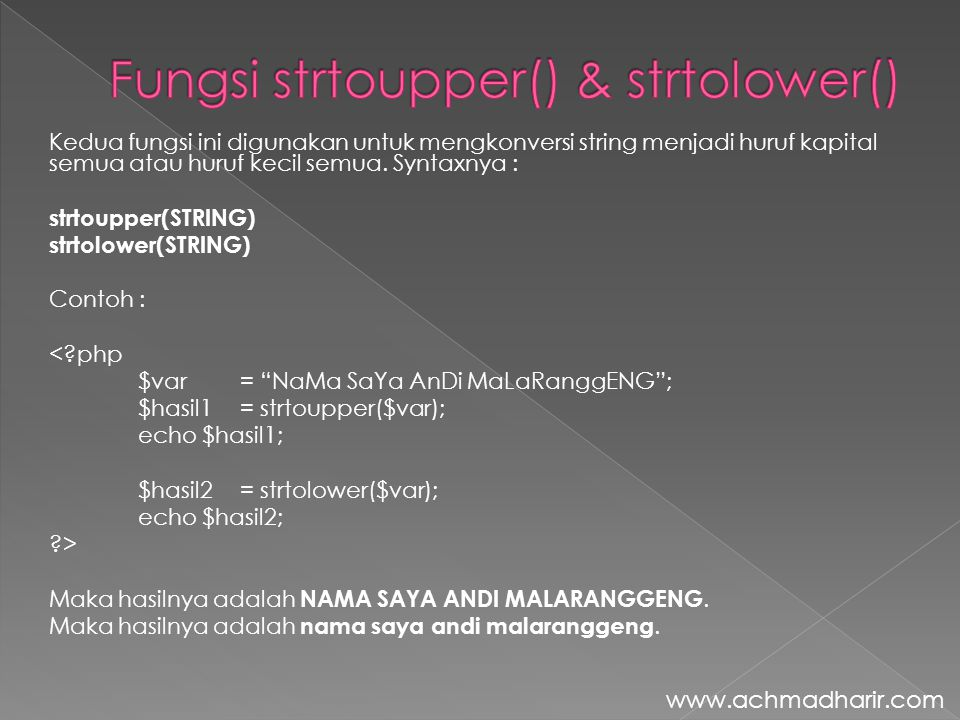 Fungsi strtoupper() & strtolower()