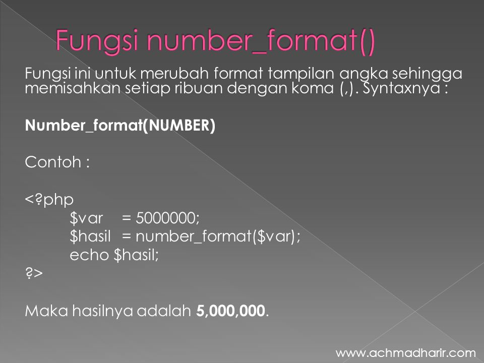 Fungsi number_format()