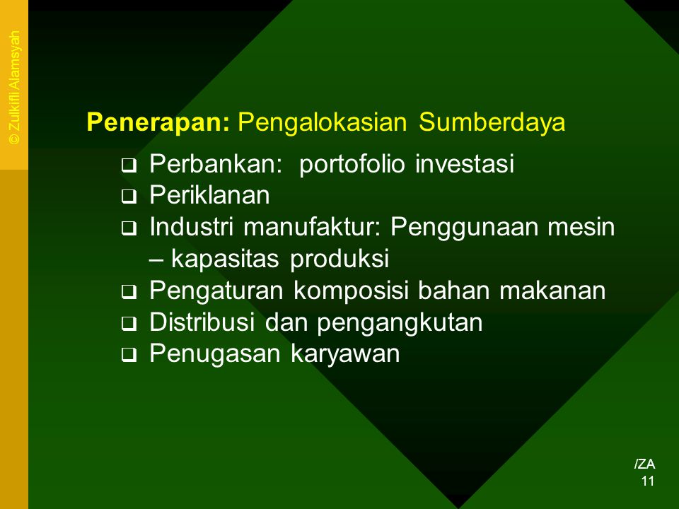 Penerapan: Pengalokasian Sumberdaya Perbankan: portofolio investasi