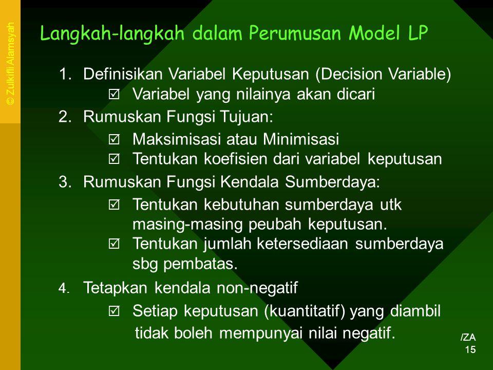 Langkah-langkah dalam Perumusan Model LP