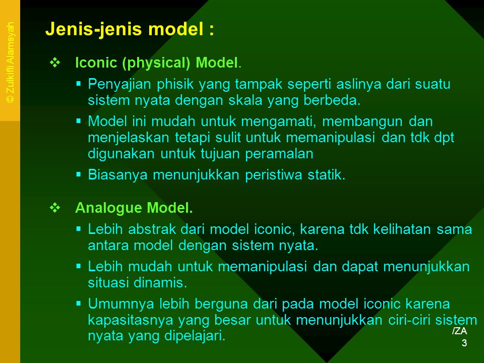 Jenis-jenis model : Iconic (physical) Model.