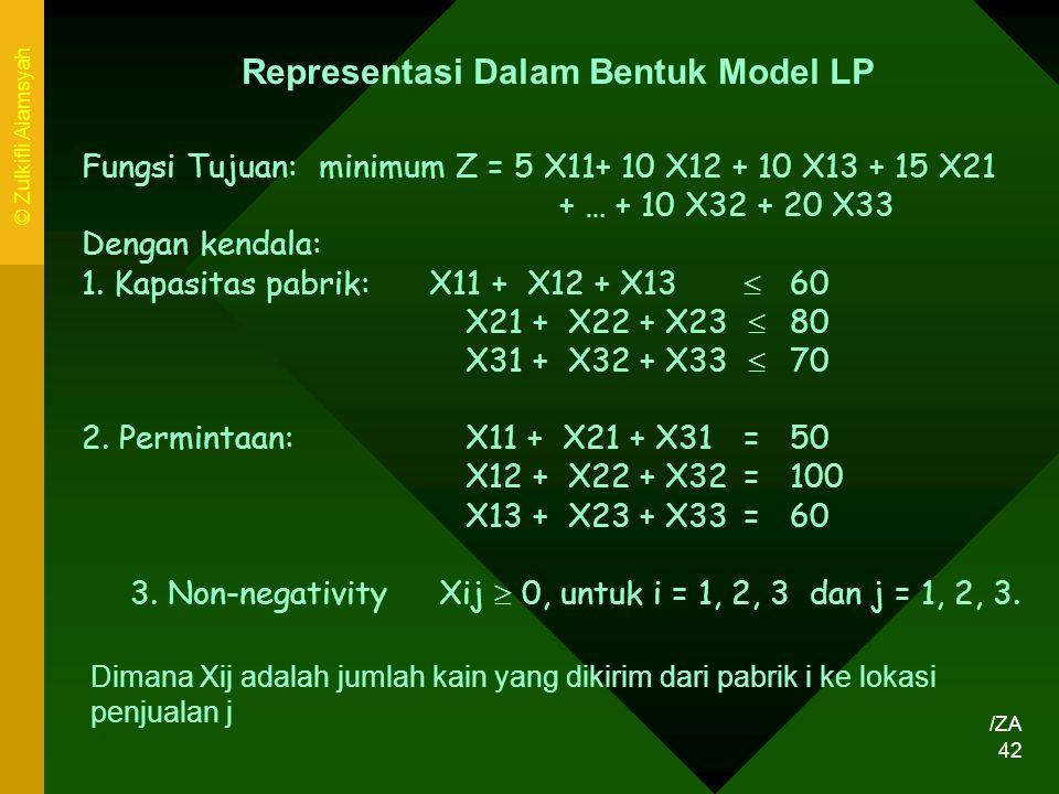 Representasi Dalam Bentuk Model LP