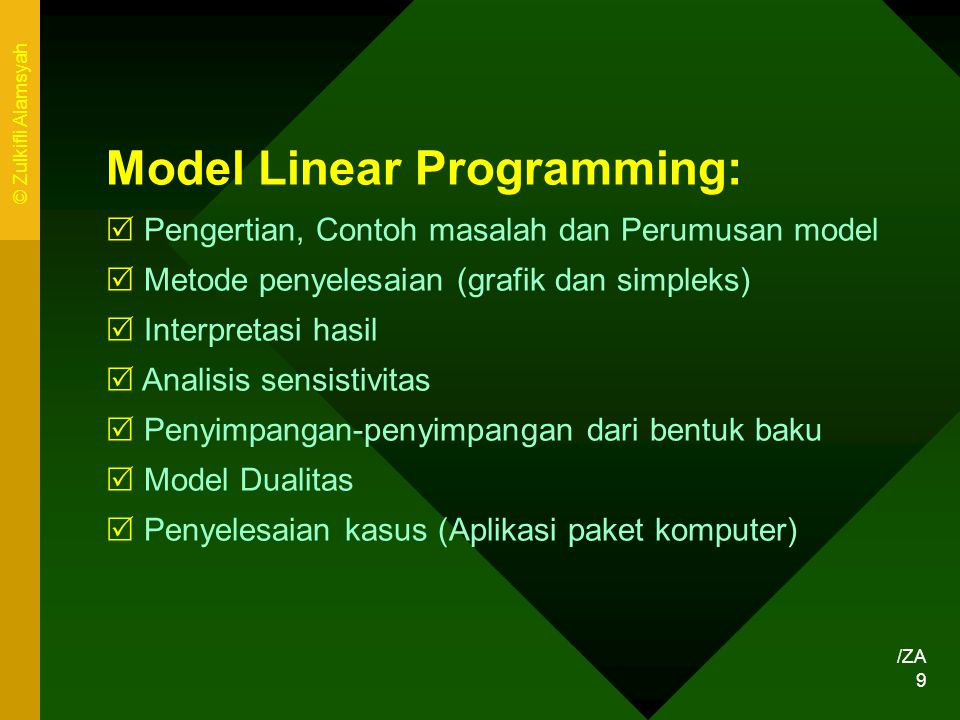 Model Linear Programming: