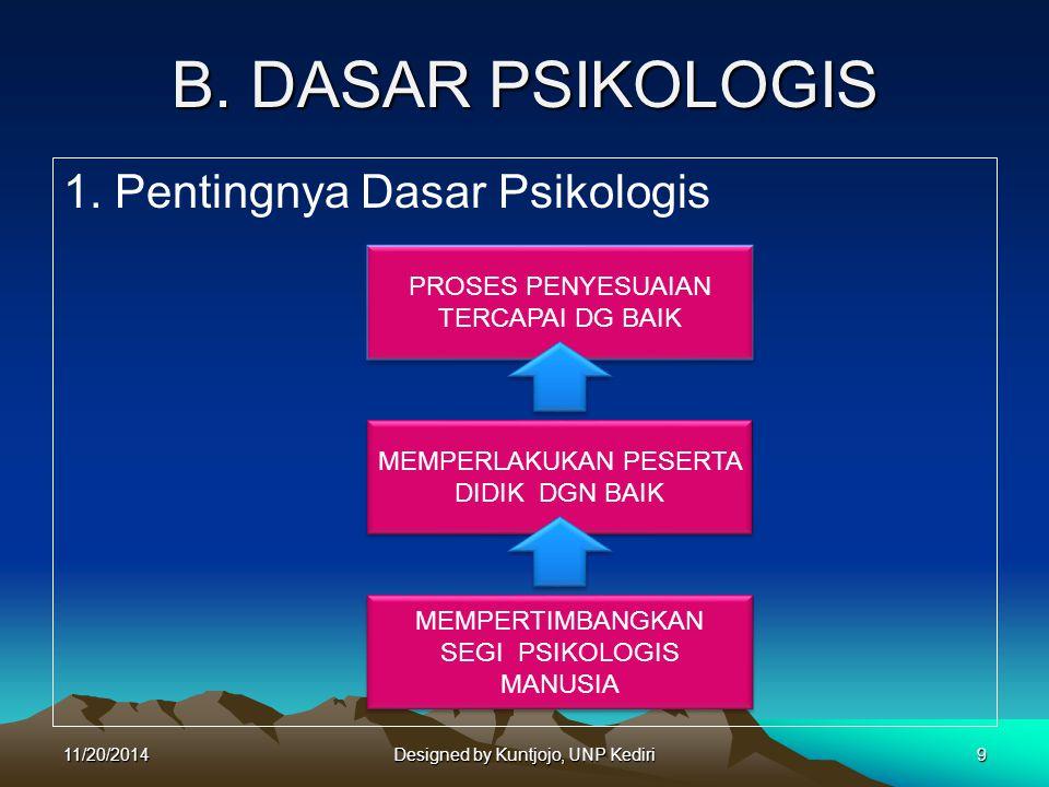 B. DASAR PSIKOLOGIS 1. Pentingnya Dasar Psikologis PROSES PENYESUAIAN