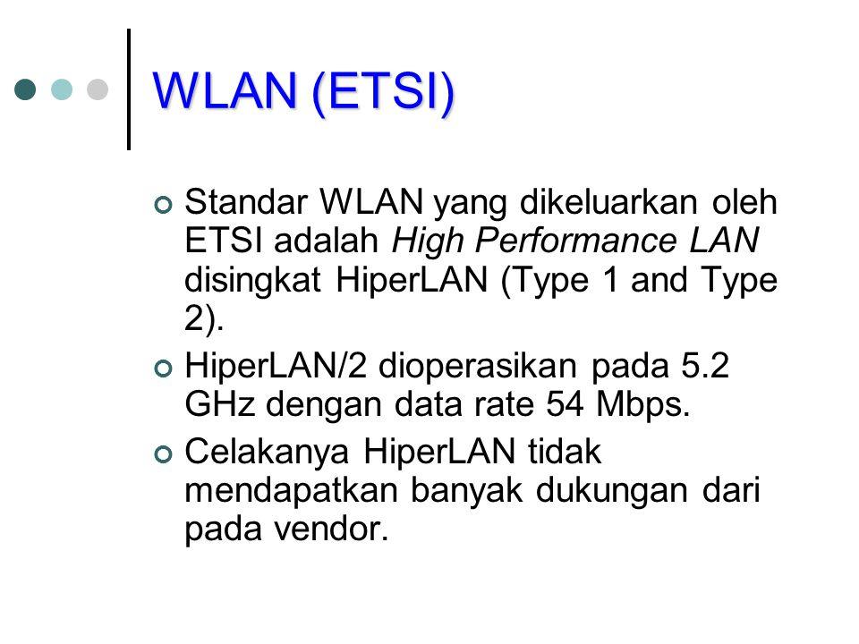 WLAN (ETSI) Standar WLAN yang dikeluarkan oleh ETSI adalah High Performance LAN disingkat HiperLAN (Type 1 and Type 2).