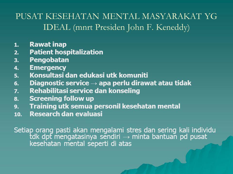 PUSAT KESEHATAN MENTAL MASYARAKAT YG IDEAL (mnrt Presiden John F