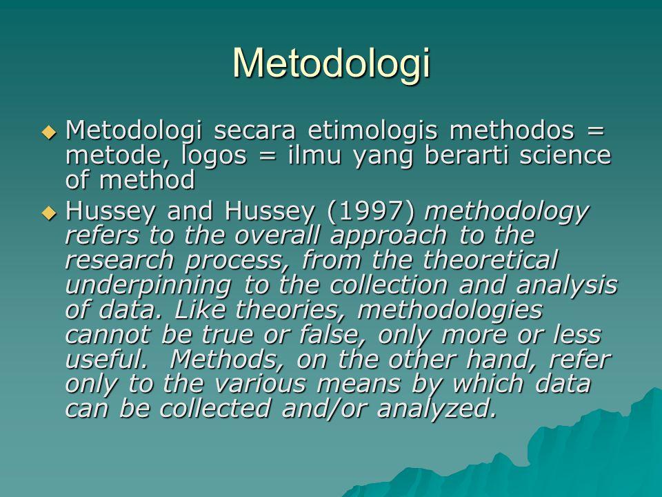 Metodologi Metodologi secara etimologis methodos = metode, logos = ilmu yang berarti science of method.