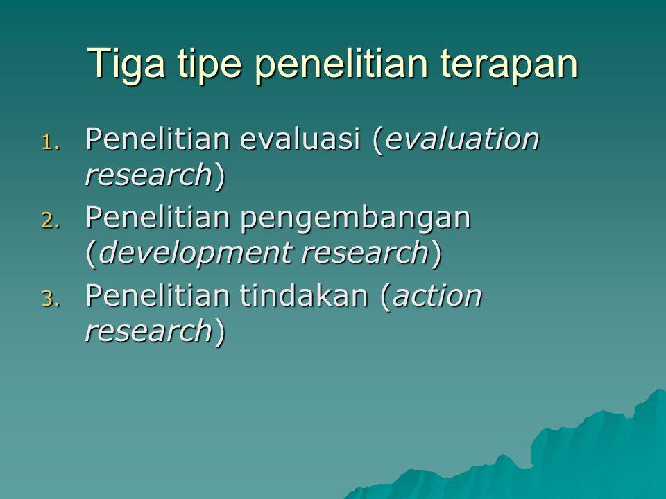 Tiga tipe penelitian terapan