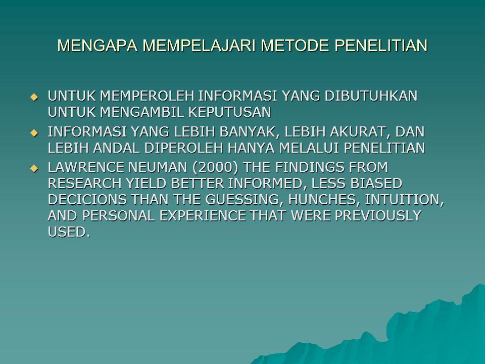 MENGAPA MEMPELAJARI METODE PENELITIAN