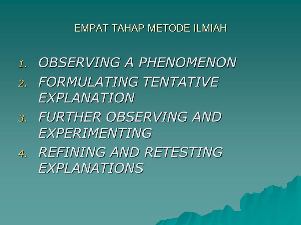 EMPAT TAHAP METODE ILMIAH