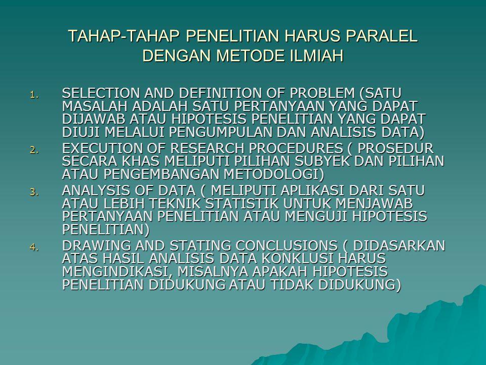 TAHAP-TAHAP PENELITIAN HARUS PARALEL DENGAN METODE ILMIAH