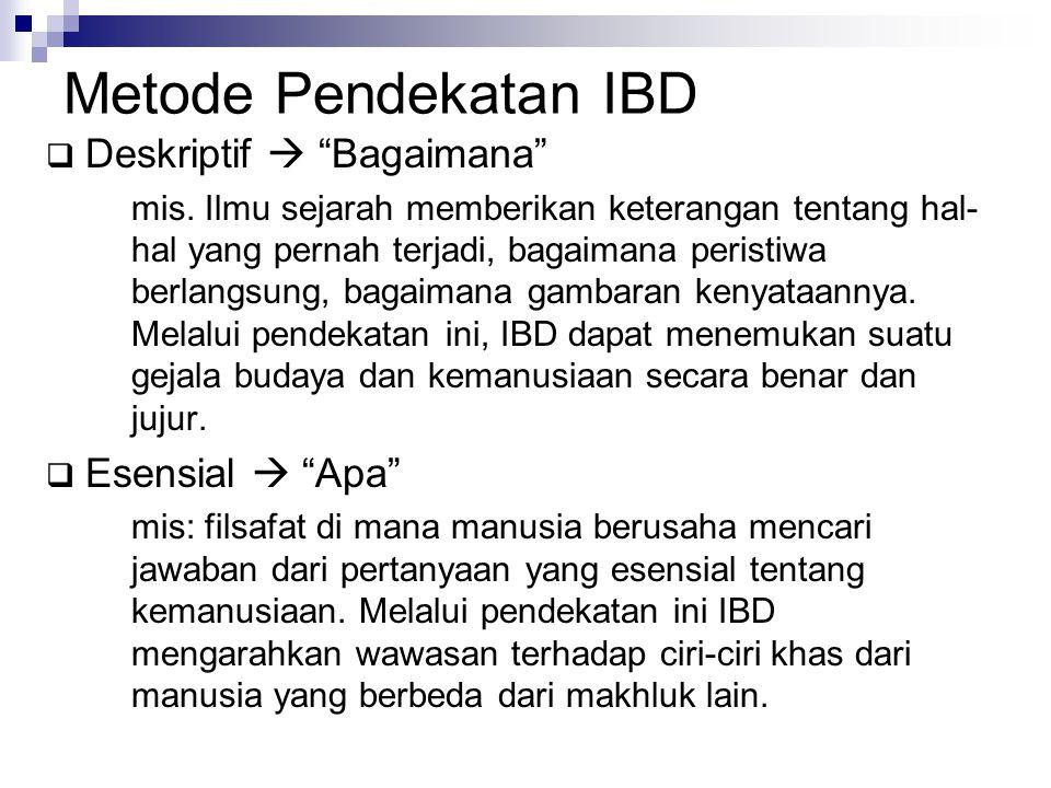 Metode Pendekatan IBD Deskriptif  Bagaimana Esensial  Apa