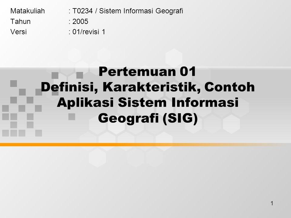 Matakuliah : T0234 / Sistem Informasi Geografi