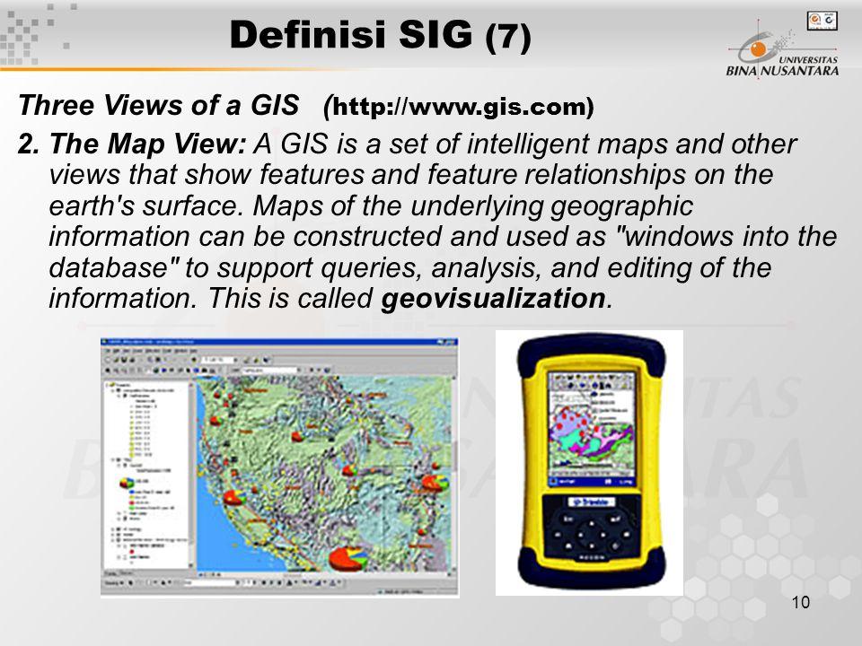 Definisi SIG (7) Three Views of a GIS (http://www.gis.com)