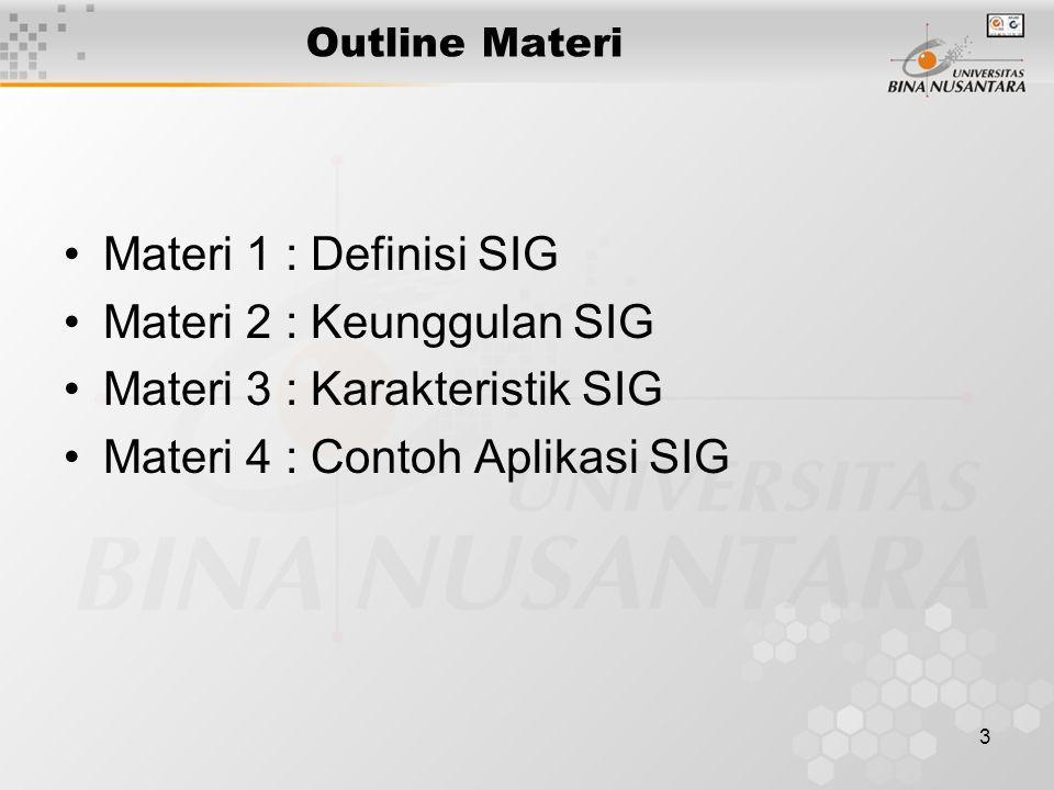 Materi 2 : Keunggulan SIG Materi 3 : Karakteristik SIG
