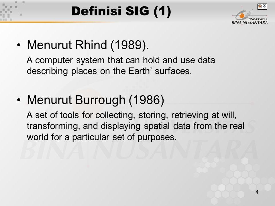Definisi SIG (1) Menurut Rhind (1989). Menurut Burrough (1986)