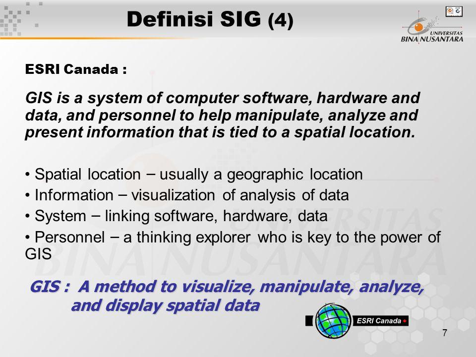 Definisi SIG (4) ESRI Canada :