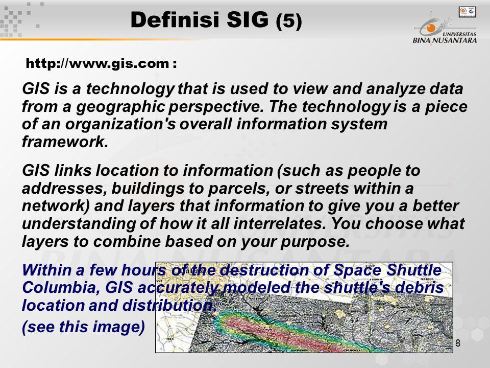 Definisi SIG (5) http://www.gis.com :