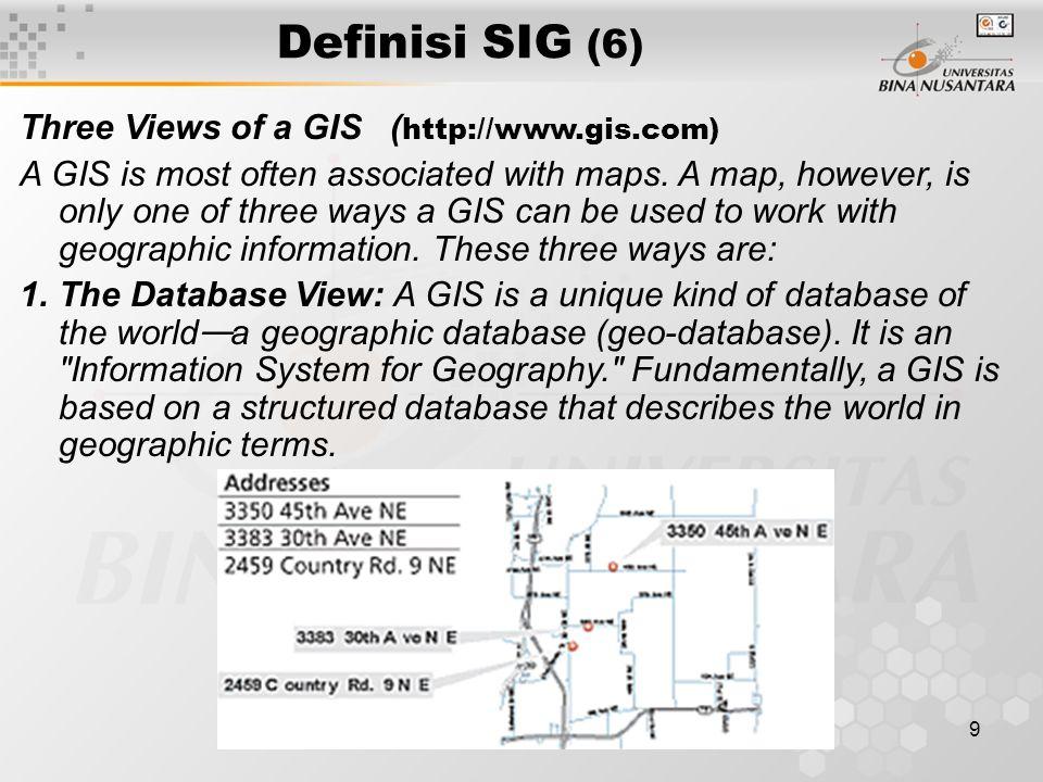 Definisi SIG (6) Three Views of a GIS (http://www.gis.com)