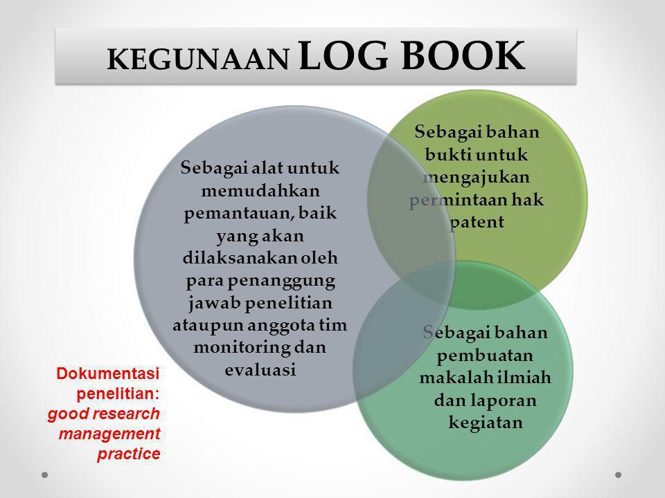 KEGUNAAN LOG BOOK Sebagai bahan bukti untuk mengajukan permintaan hak patent. Sebagai bahan pembuatan makalah ilmiah dan laporan kegiatan.