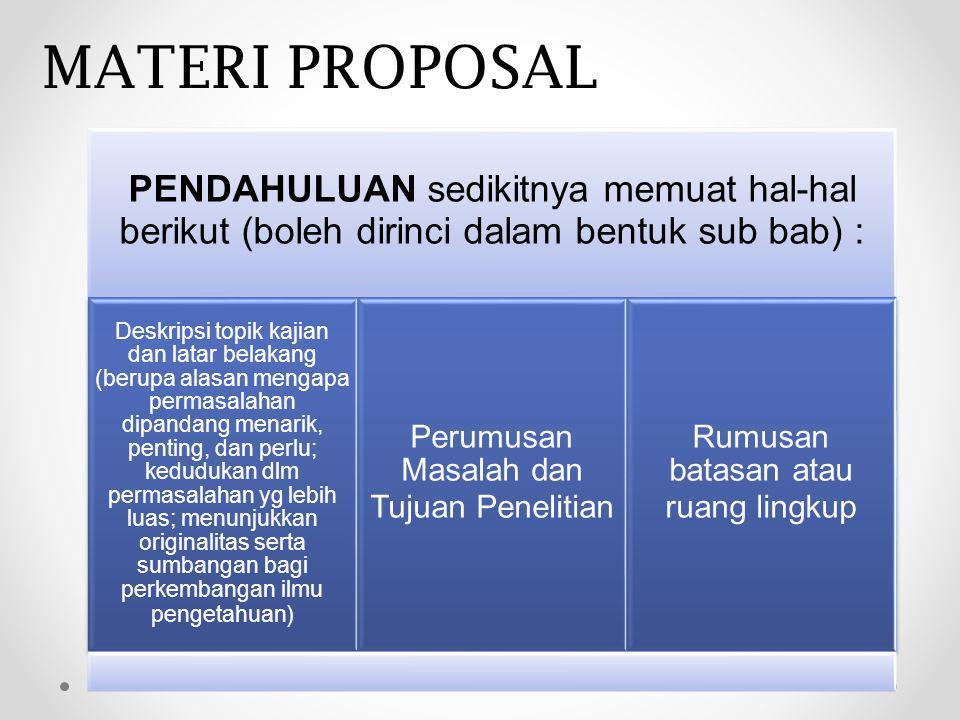 MATERI PROPOSAL PENDAHULUAN sedikitnya memuat hal-hal berikut (boleh dirinci dalam bentuk sub bab) :