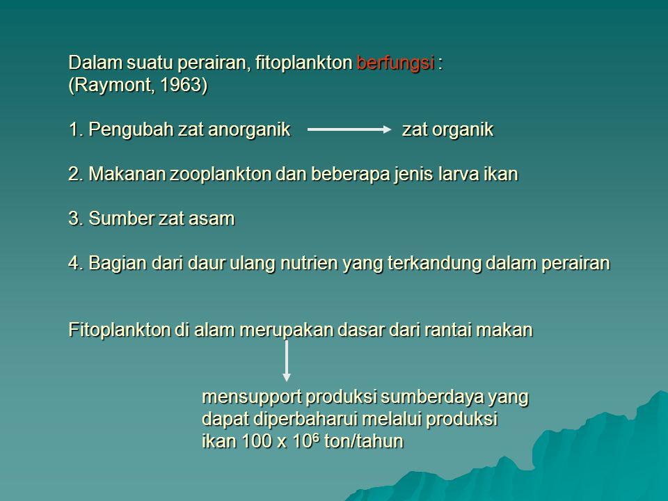 Dalam suatu perairan, fitoplankton berfungsi : (Raymont, 1963) 1
