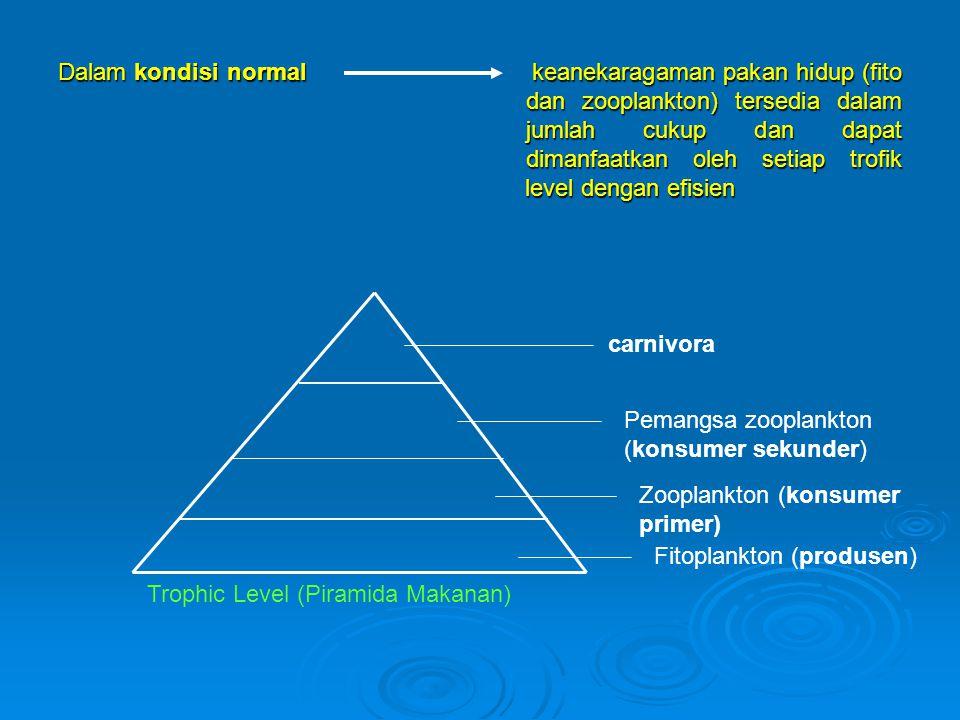 Dalam kondisi normal keanekaragaman pakan hidup (fito dan zooplankton) tersedia dalam jumlah cukup dan dapat dimanfaatkan oleh setiap trofik level dengan efisien
