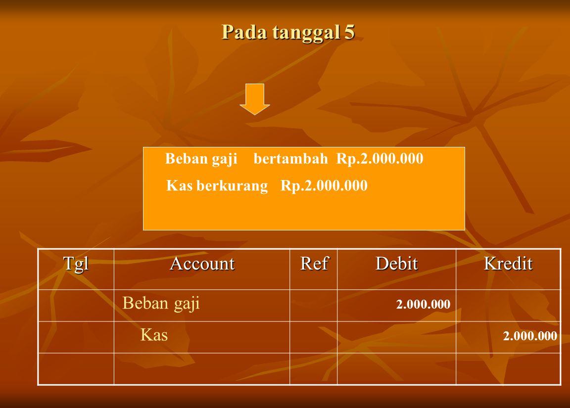 Pada tanggal 5 Tgl Account Ref Debit Kredit Beban gaji Kas
