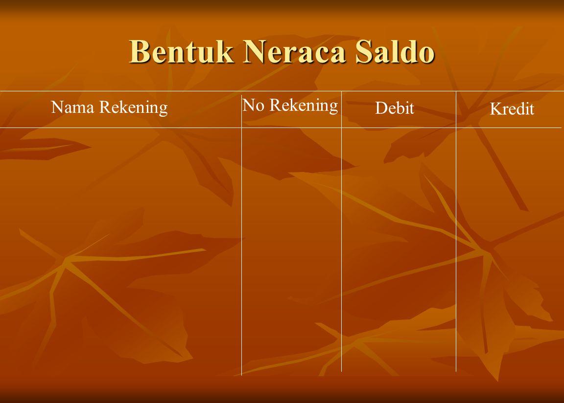 Bentuk Neraca Saldo Nama Rekening No Rekening Debit Kredit