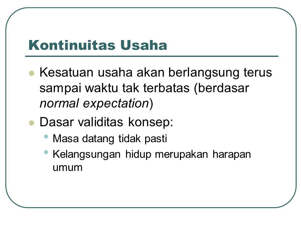 Kontinuitas Usaha Kesatuan usaha akan berlangsung terus sampai waktu tak terbatas (berdasar normal expectation)