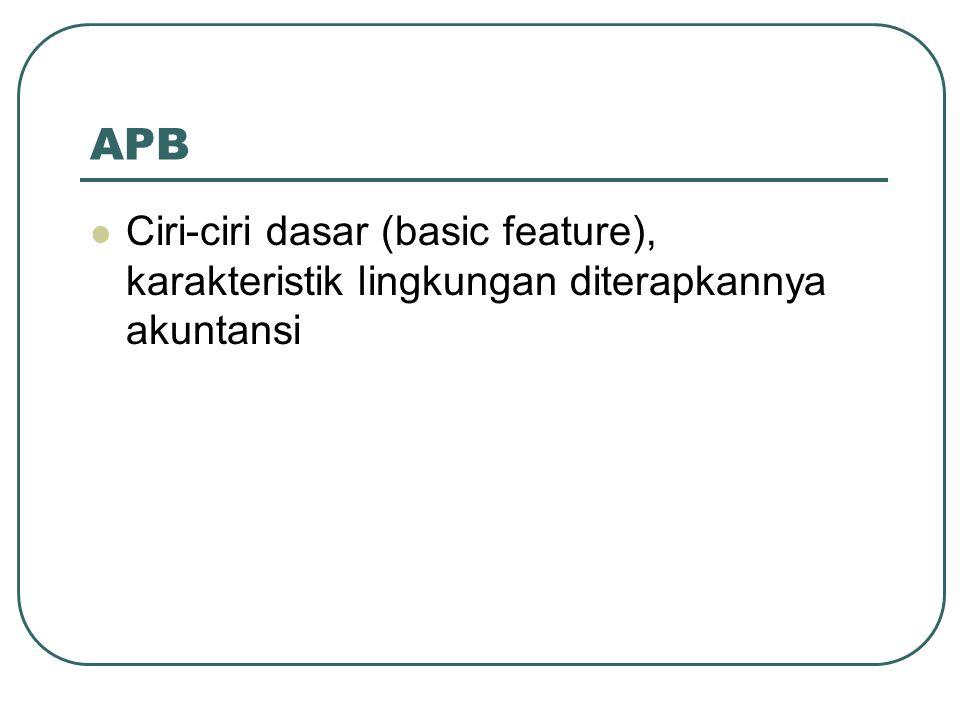 APB Ciri-ciri dasar (basic feature), karakteristik lingkungan diterapkannya akuntansi
