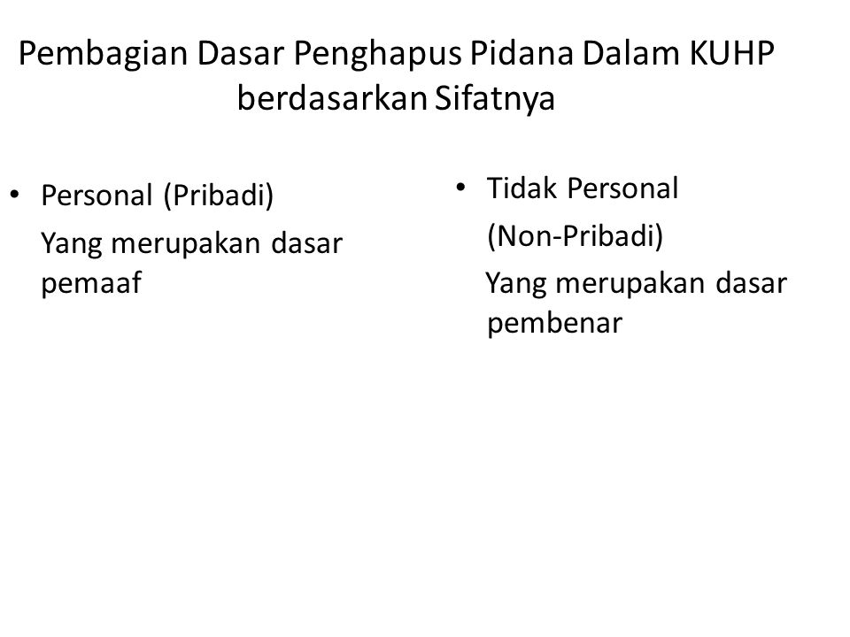 Pembagian Dasar Penghapus Pidana Dalam KUHP berdasarkan Sifatnya