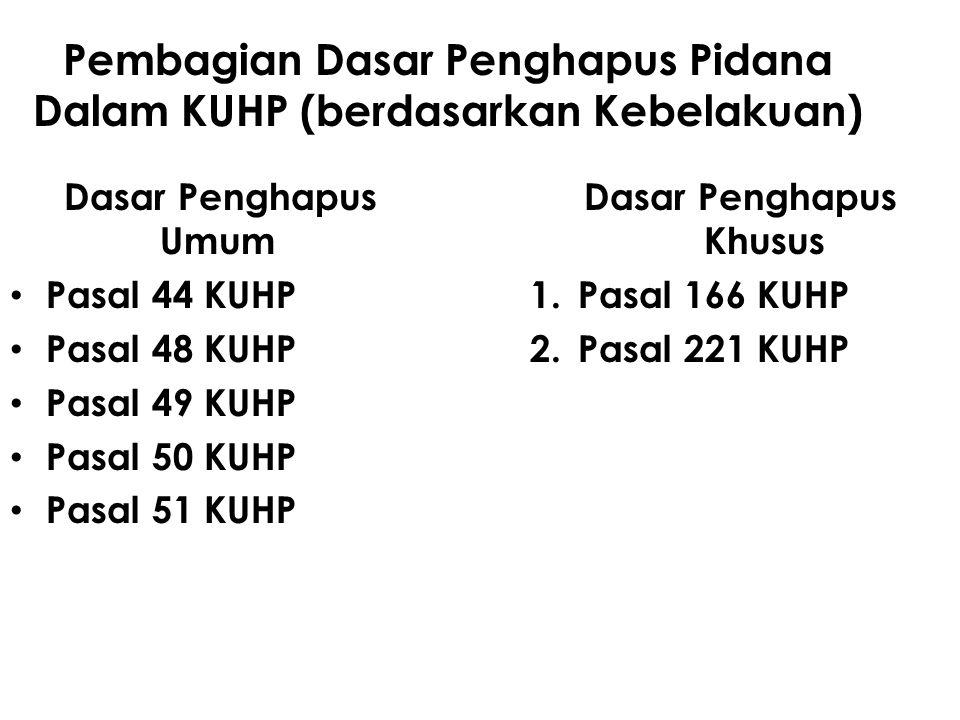 Pembagian Dasar Penghapus Pidana Dalam KUHP (berdasarkan Kebelakuan)