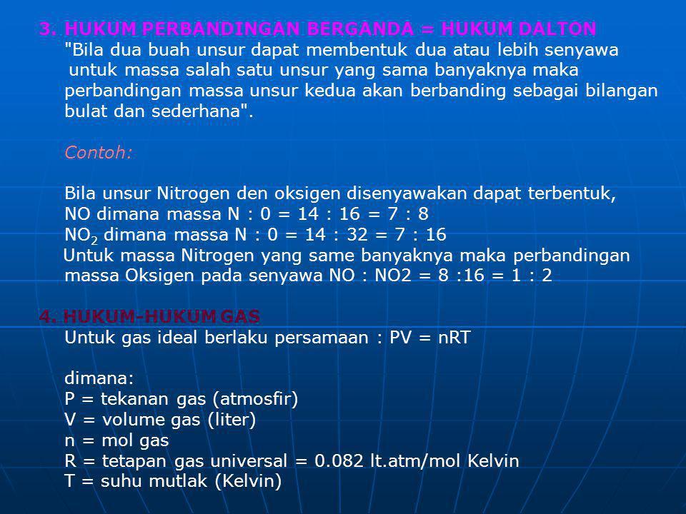 HUKUM PERBANDINGAN BERGANDA = HUKUM DALTON Bila dua buah unsur dapat membentuk dua atau lebih senyawa