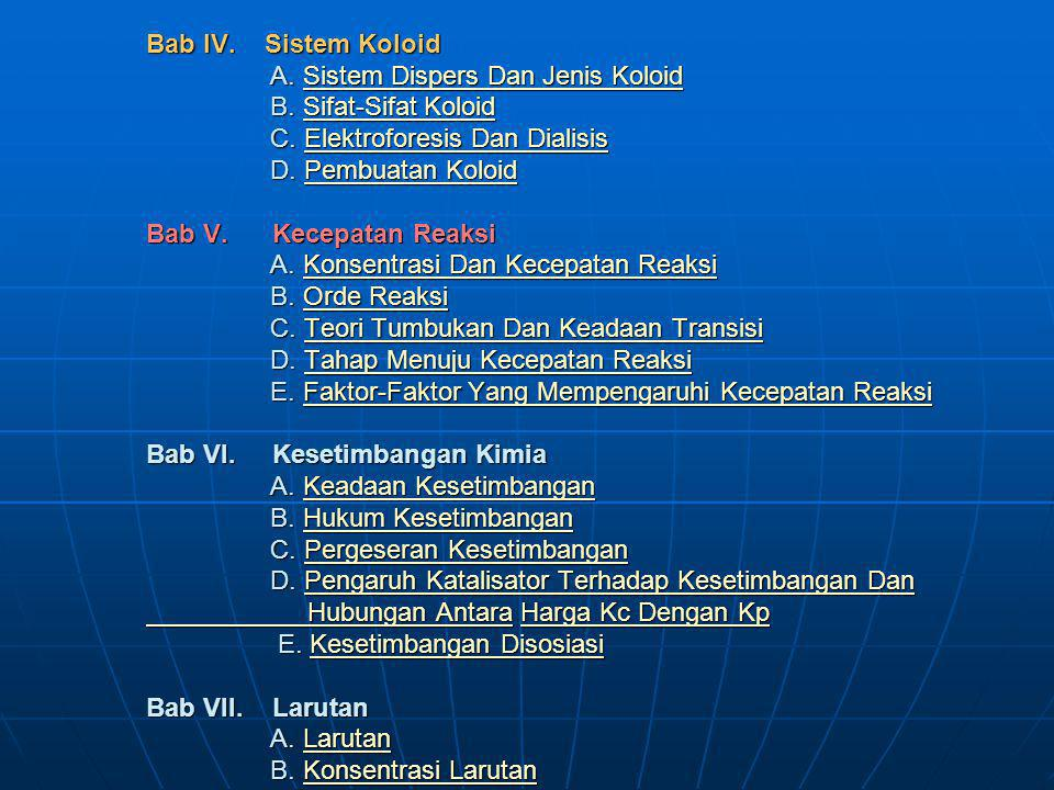 Bab IV. Sistem Koloid A. Sistem Dispers Dan Jenis Koloid B