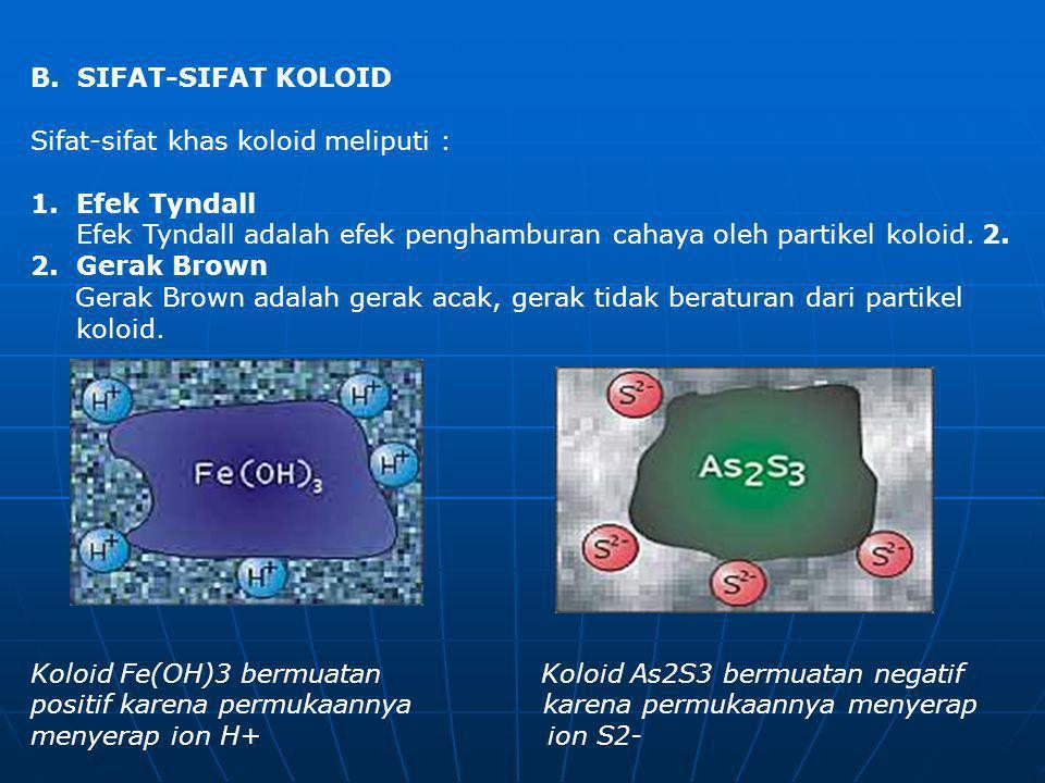 B. SIFAT-SIFAT KOLOID Sifat-sifat khas koloid meliputi :