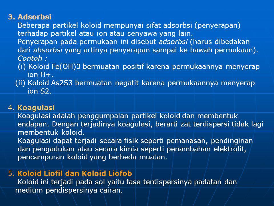 3. Adsorbsi Beberapa partikel koloid mempunyai sifat adsorbsi (penyerapan)