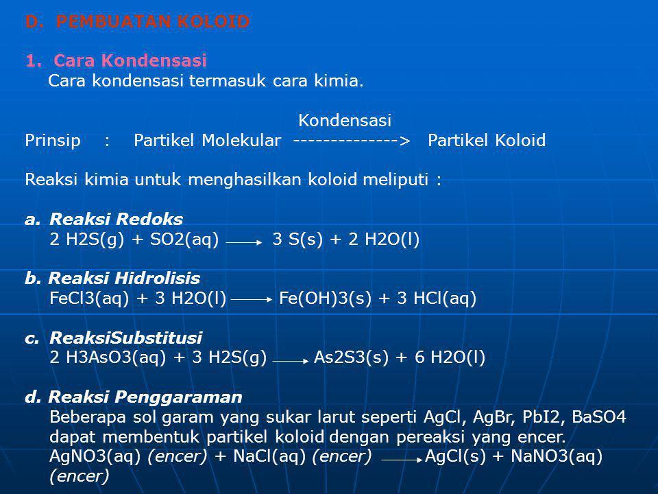 D. PEMBUATAN KOLOID 1. Cara Kondensasi. Cara kondensasi termasuk cara kimia. Kondensasi.