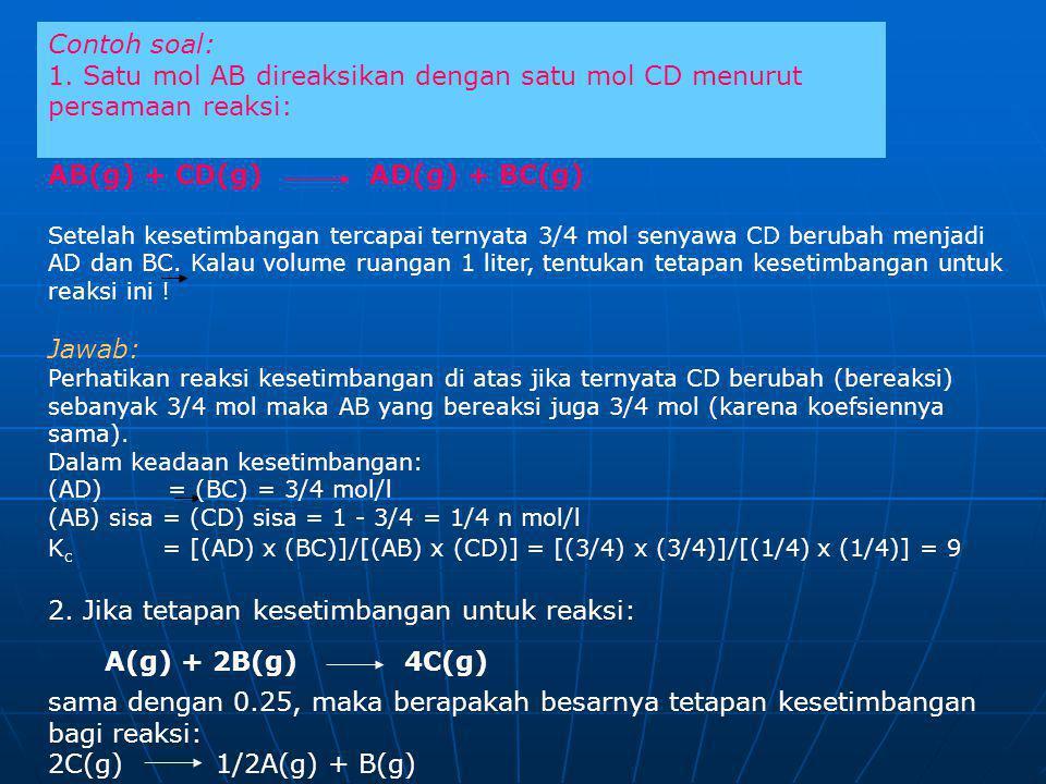 AB(g) + CD(g) AD(g) + BC(g)