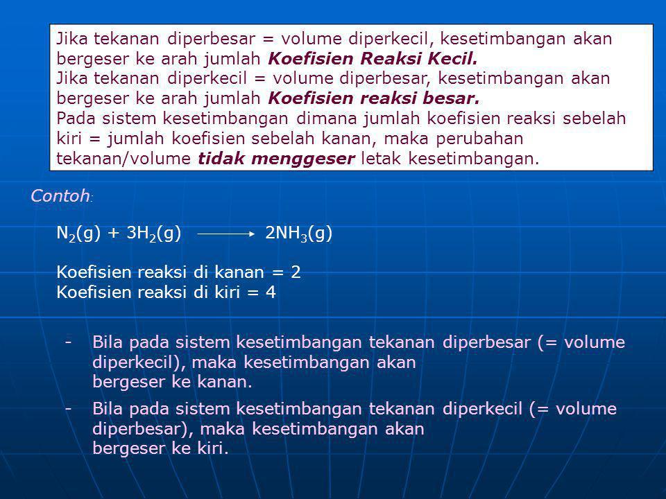 Jika tekanan diperbesar = volume diperkecil, kesetimbangan akan bergeser ke arah jumlah Koefisien Reaksi Kecil.