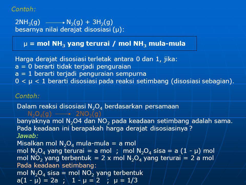 µ = mol NH3 yang terurai / mol NH3 mula-mula