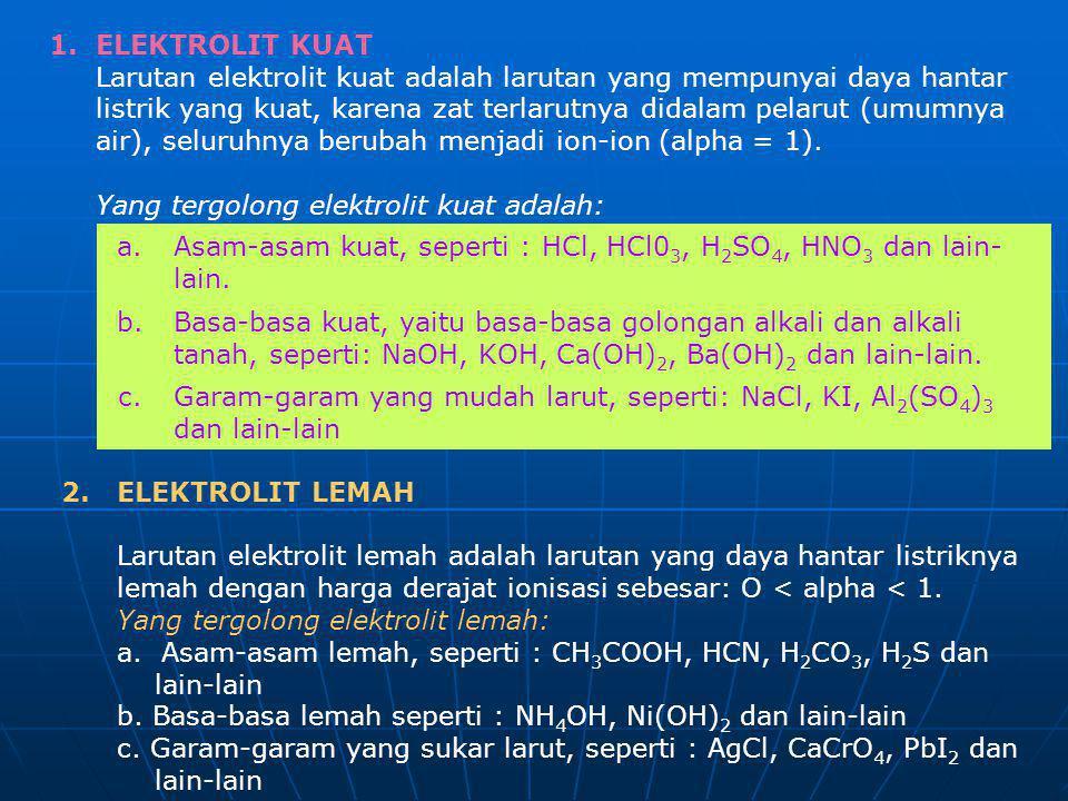 1. ELEKTROLIT KUAT Larutan elektrolit kuat adalah larutan yang mempunyai daya hantar.