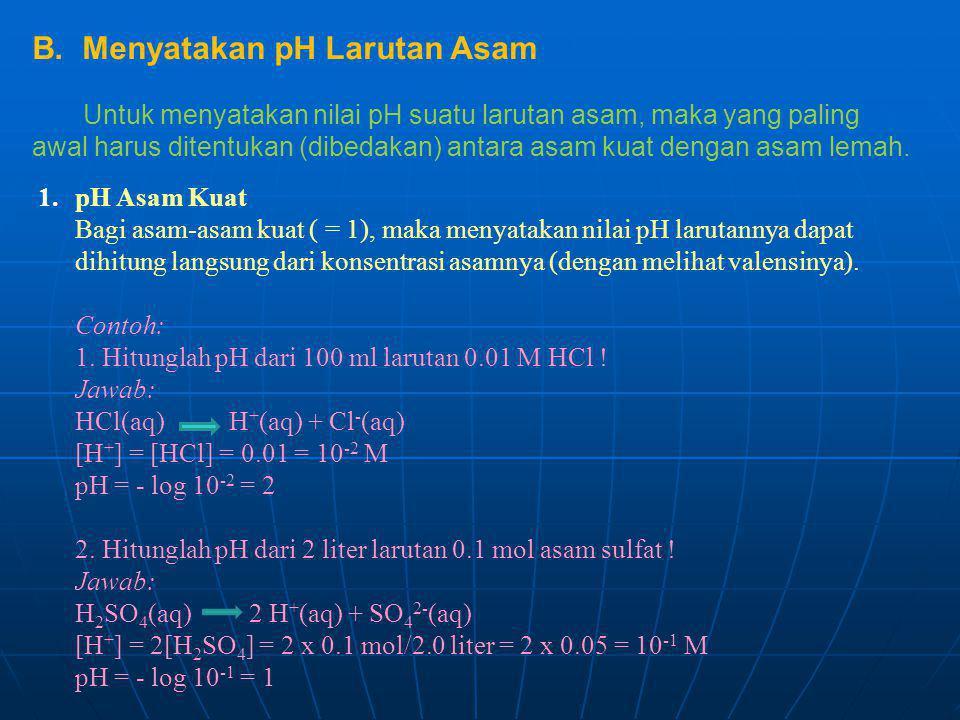 B. Menyatakan pH Larutan Asam