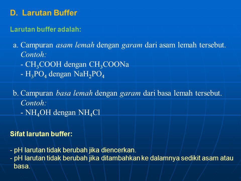 Larutan Buffer Larutan buffer adalah: Sifat larutan buffer: