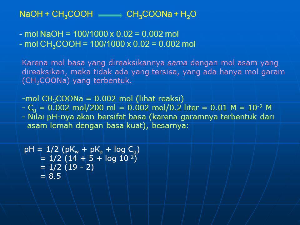 NaOH + CH3COOH CH3COONa + H2O - mol NaOH = 100/1000 x 0.02 = 0.002 mol