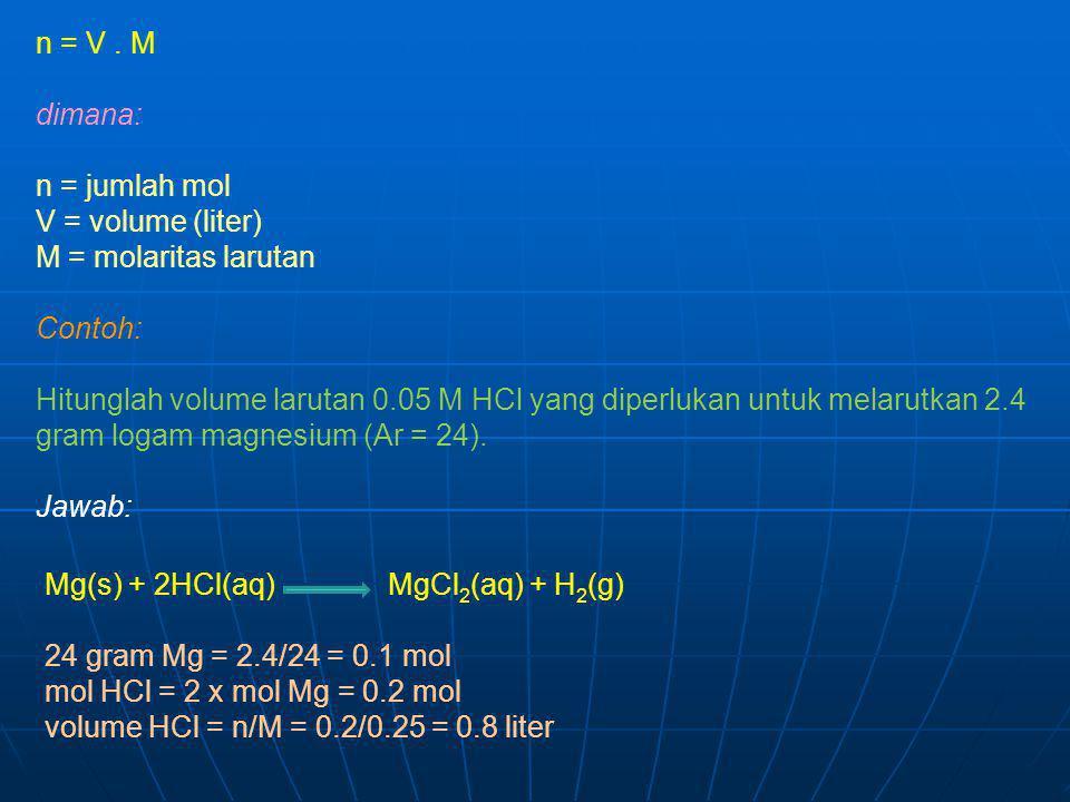 n = V . M dimana: n = jumlah mol V = volume (liter) M = molaritas larutan. Contoh: