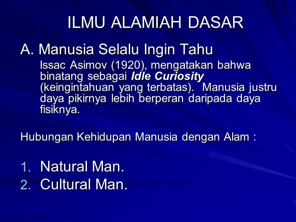 ILMU ALAMIAH DASAR A. Manusia Selalu Ingin Tahu Natural Man.