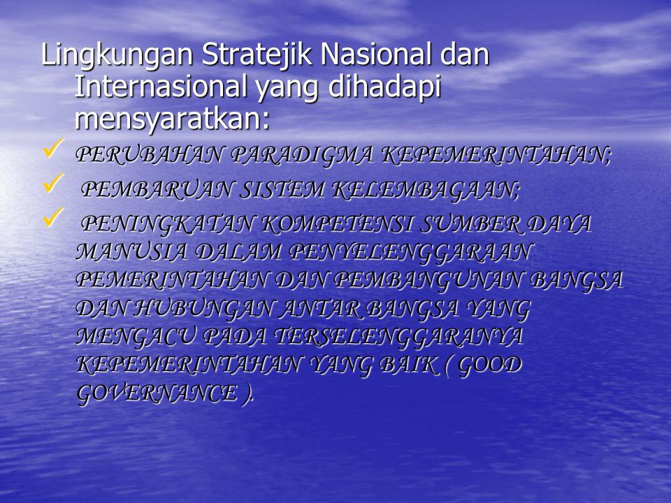 Lingkungan Stratejik Nasional dan Internasional yang dihadapi mensyaratkan:
