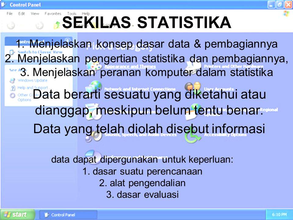 SEKILAS STATISTIKA 1. Menjelaskan konsep dasar data & pembagiannya 2
